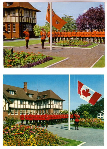 Postcards of the flag raising at Fairmont Barracks - with both the Red Ensign and the new Maple Leaf flag.
