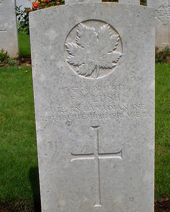 Photograph of the grave marker for Frederick Lush (Source of photo - Veterans Affairs - The Virtual War Memorial).