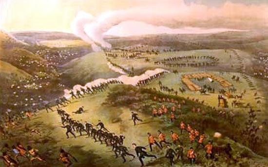 1885 -Illustration of the Battle of Cutknife Creek.