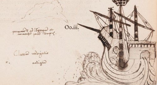 ship as drawn by John Dee in the margin of one of his books