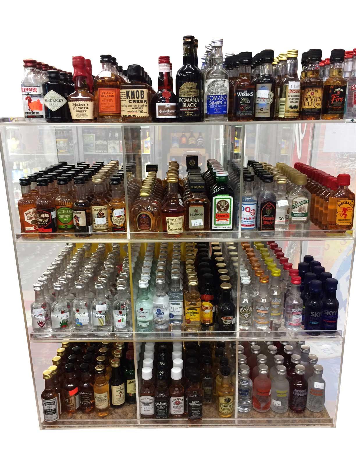 commercial display 9 bin 50ml liquor shot bottles mini s