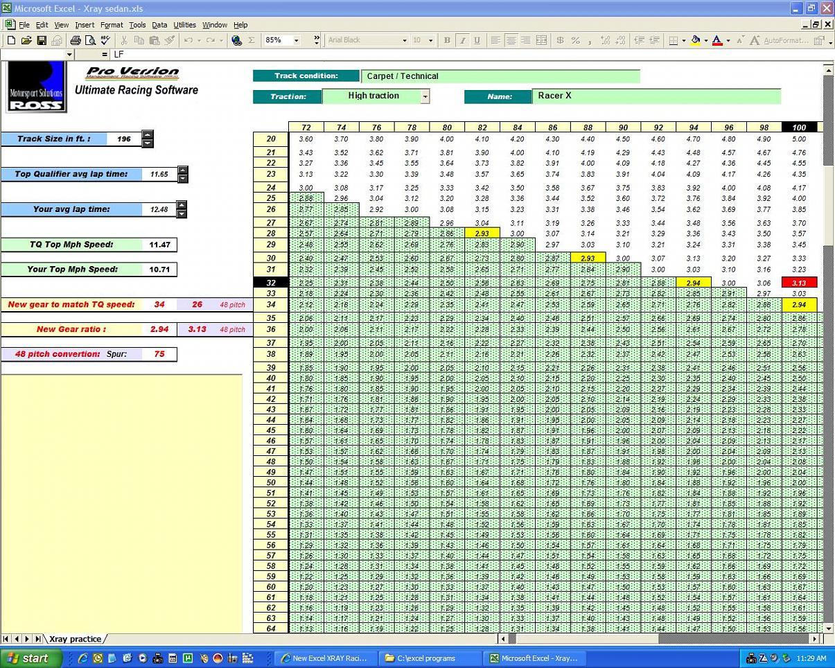 New Excel Xray Racing Program