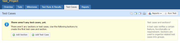 TestRail Test Cases can be easily added from TestCases tab.