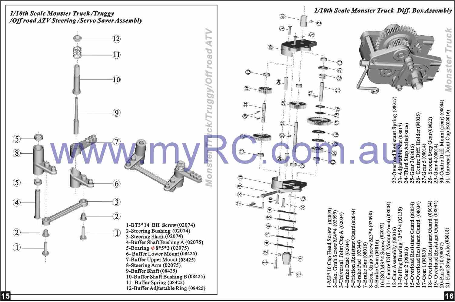 Himoto Rc Car Parts Lists