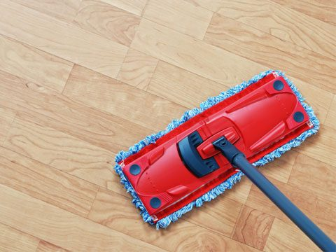 To damp-mop wood floors, use plain water or a water-based floor cleaner like Bona.