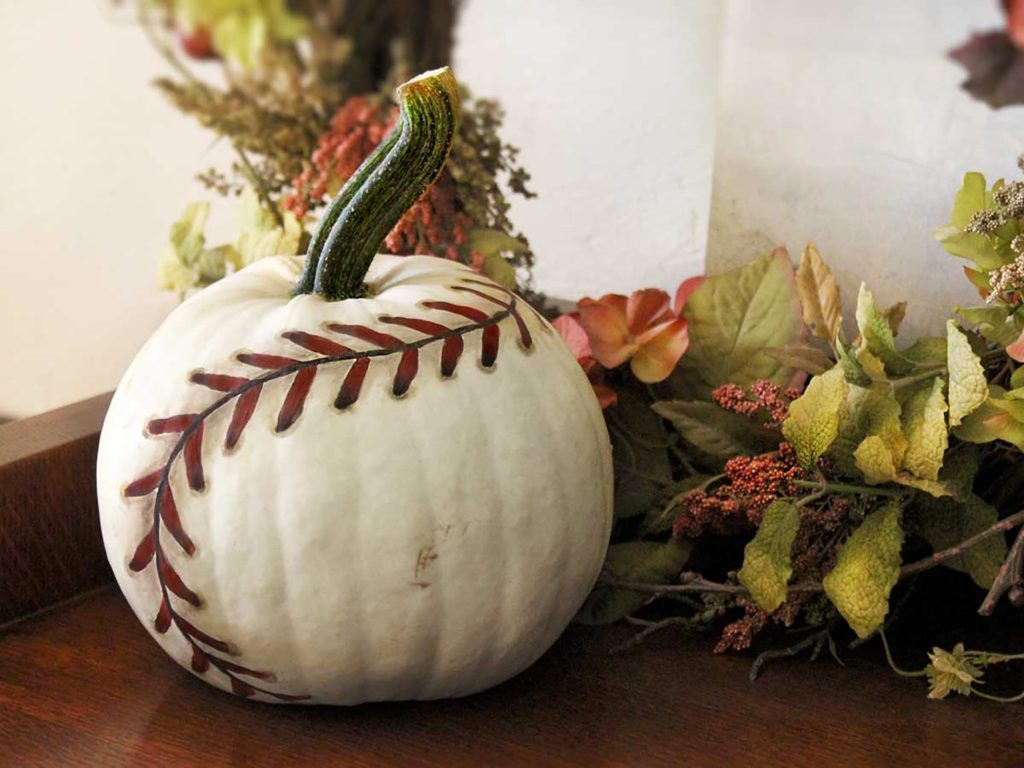 No Carve Pumpkin Decorating Ideas   Reader s Digest Baseball pumpkin