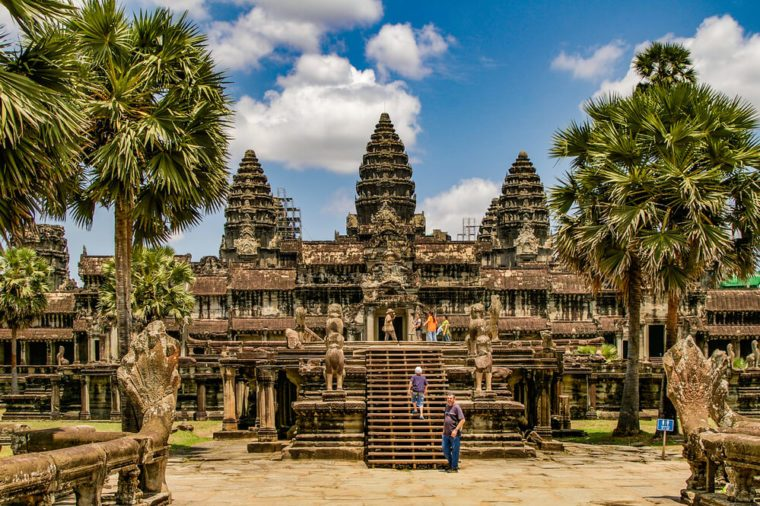 Angkor Wat in Cambodia is the largest religious monument in the world and a World heritage listed complex