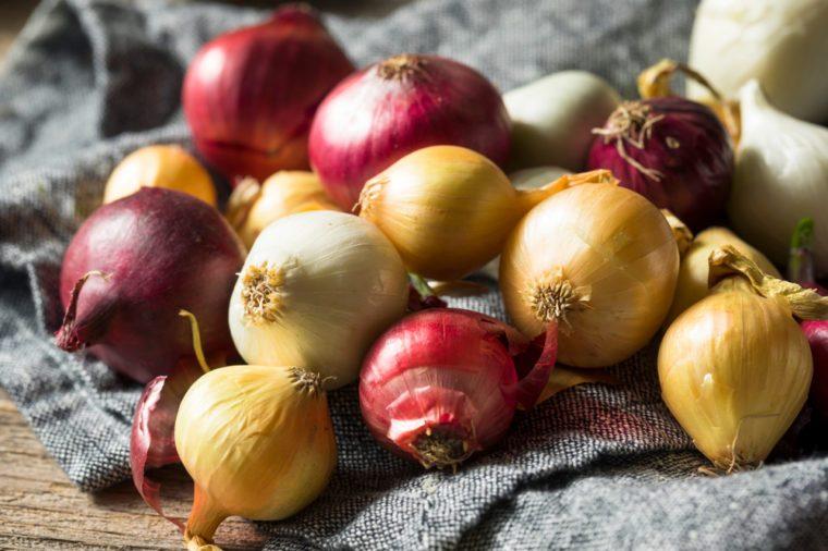 Raw Organic Assorted Pearl Onions Ready to Cut
