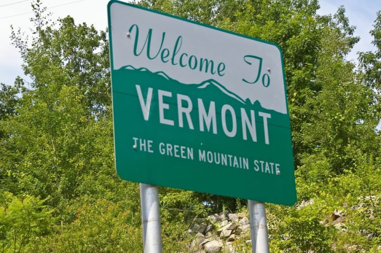 Welcome To Vermont road sign