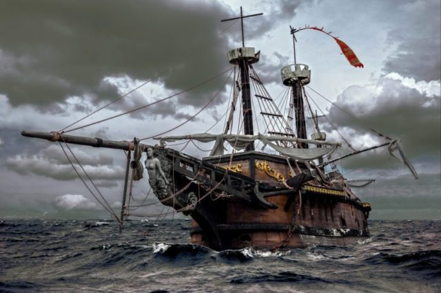 Abandoned Historic Sailing Ship In The Stormy Sea Wooden Sailboat Sails In A Storm At