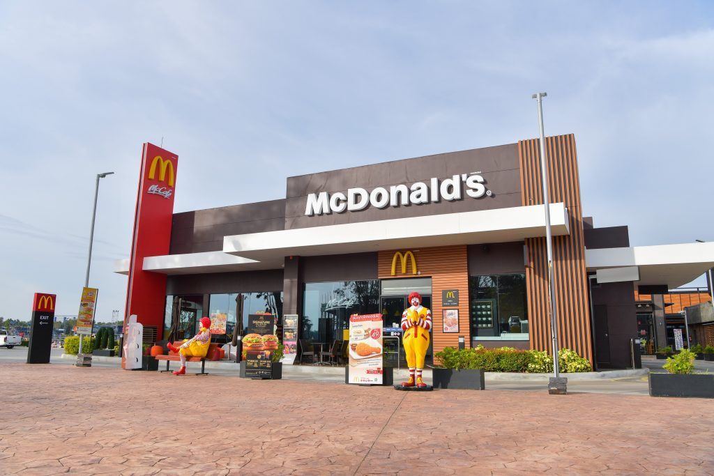 BURIRAM - DECEMBER 4 : McDonald's in Thailand, Corporation is the world's largest chain of hamburger fast food restaurants, during the day hours on December 4, 2016, Buriram, Thailand.