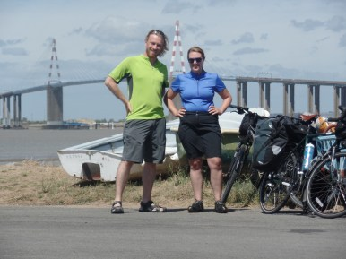 Dee and I in our victory pose at the start of Euro Velo 6