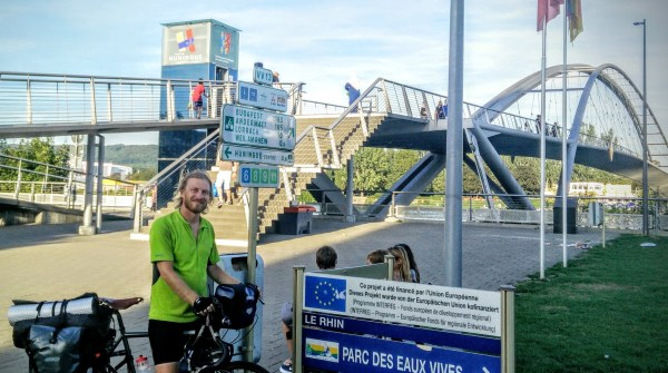 Ready to cross the Three Countries Bridge into Switzerland