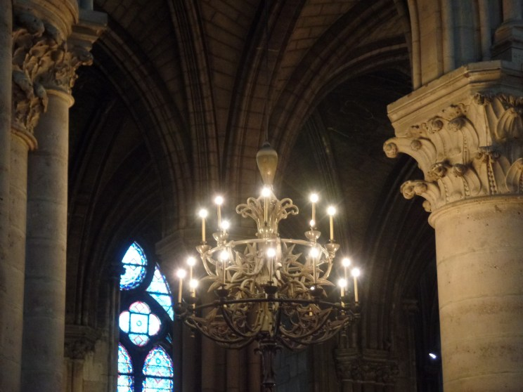 A chandelier in Notre Dame Cathedral
