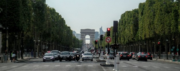 Looking down the Champs-Elysees