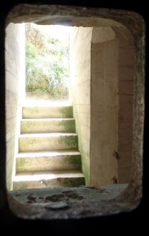 Inside one of the German Battlements, looking out at the stairway. I swear I'd seen this exact bunker in of Call of Duty.