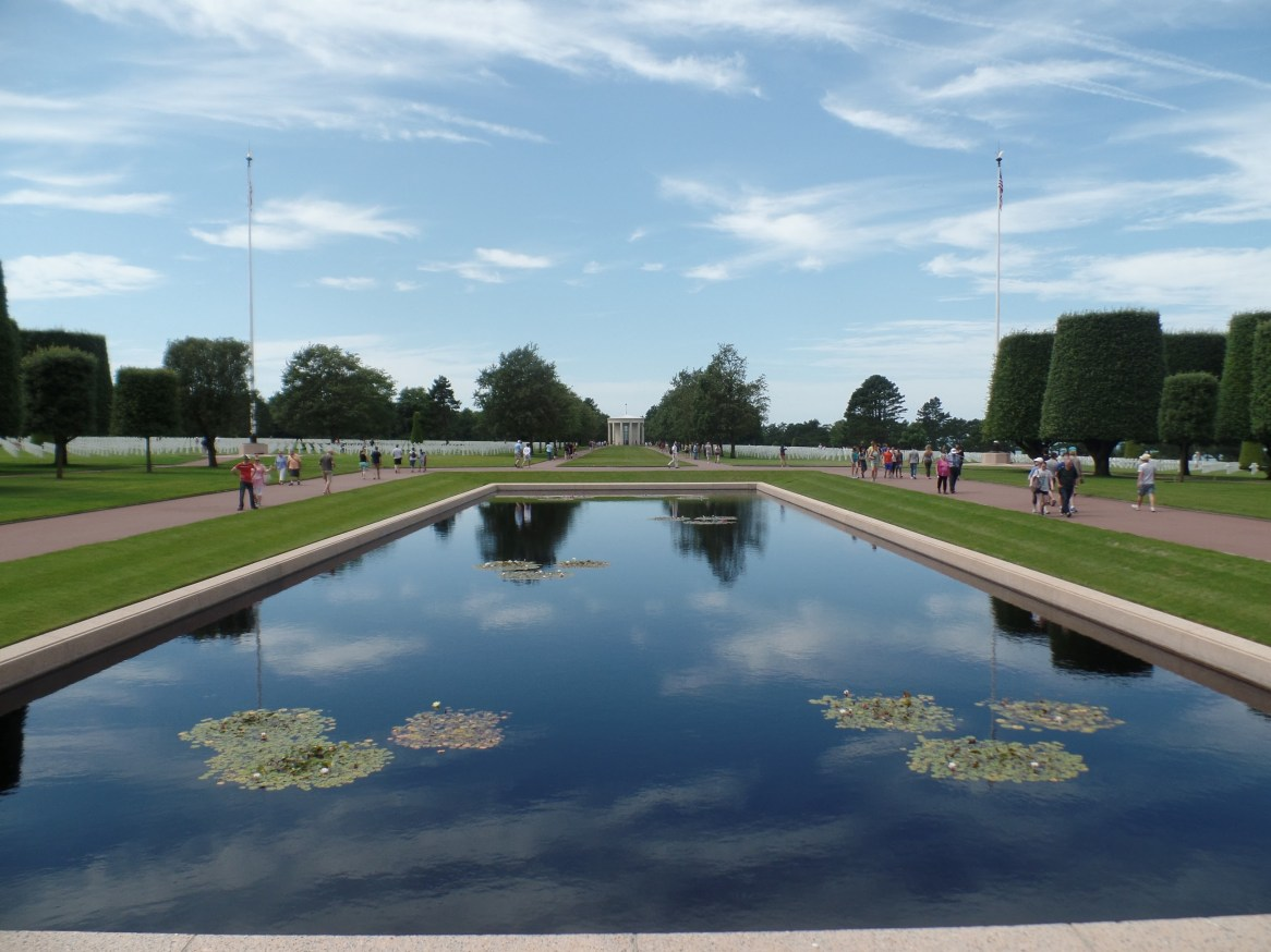 Reflection pool in front of the main memorial at the National Cemetery.