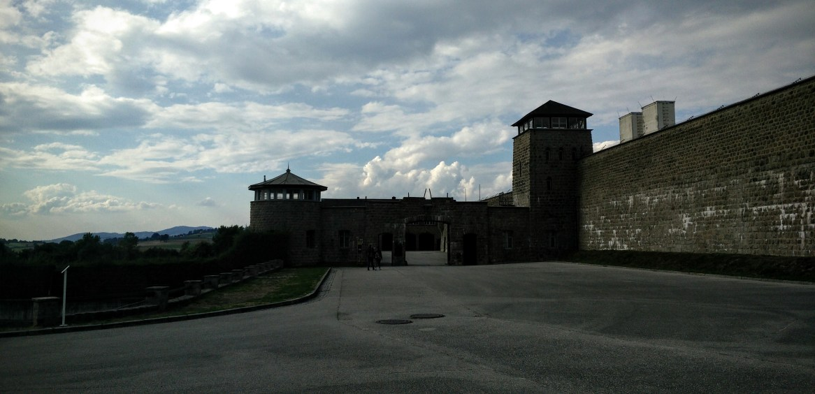 Guard towers at the entrance to Mauthausen Concentration Camp