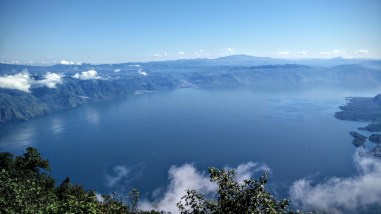 Looking down on Lake Atitlan from the San Pedro Volcano.