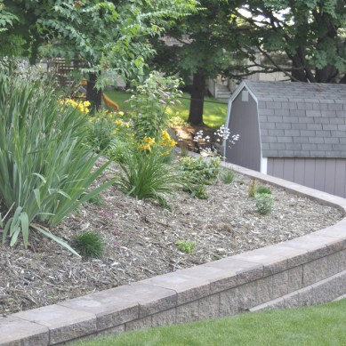 Backyard Plant Bed and Retaining Wall