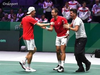 Denis Shapovalov, Vasek Pospisil e Frank Dancevic - TEAM CANADA - Madrid Finali Coppa Davis 2019 - foto di Roberto Dell'Olivo