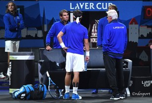 Fabio Fognini di spalle con Rafael Nadal e Bjorn Borg - Laver Cup 2019 Ginevra