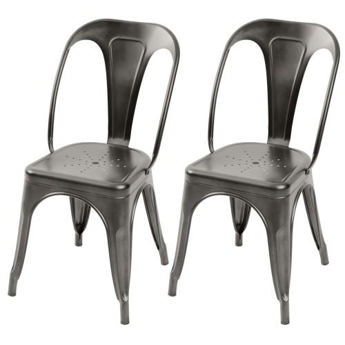 chaise industrielle en metal style tolix