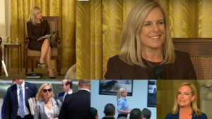 An Image Collage of Homeland Security Secretary Kirstjen Nielsen at a Border Patrol Briefing, Speaking on a Panel Arriving at the Mexican Border in Texas She is a very attractive woman with shoulder length golden hair and blue eyes