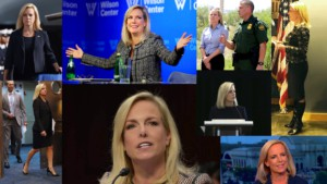 7 images as a collage of secretary Kirsten Nielsen at different events from a u.s. mexico border tour to testifying to congress