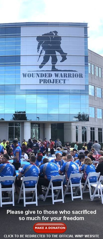 An image of the wounded warrior project breakfast at the Soldier Ride: Jacksonville, FL, everyone is seated at long tables and they are wearing their blue WWP shirts.