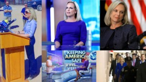 An image Collage Secretary Kirstjen Nielsen at different event, an interview by Dana Perino, walking down the hall of congress, and at the Mexican border