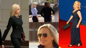 4 images as a collage of secretary Kirsten Nielsen at different events from a state dinner to u.s. mexico border tour to walking through the halls congress