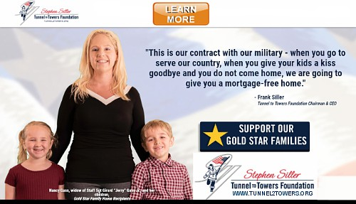 The home page of tunnel2towers.org an organization to give a mortgage free home to the family of all fallen service people there is a woman and her children looking at the camera and smiling she is a widow of a fallen soldier.