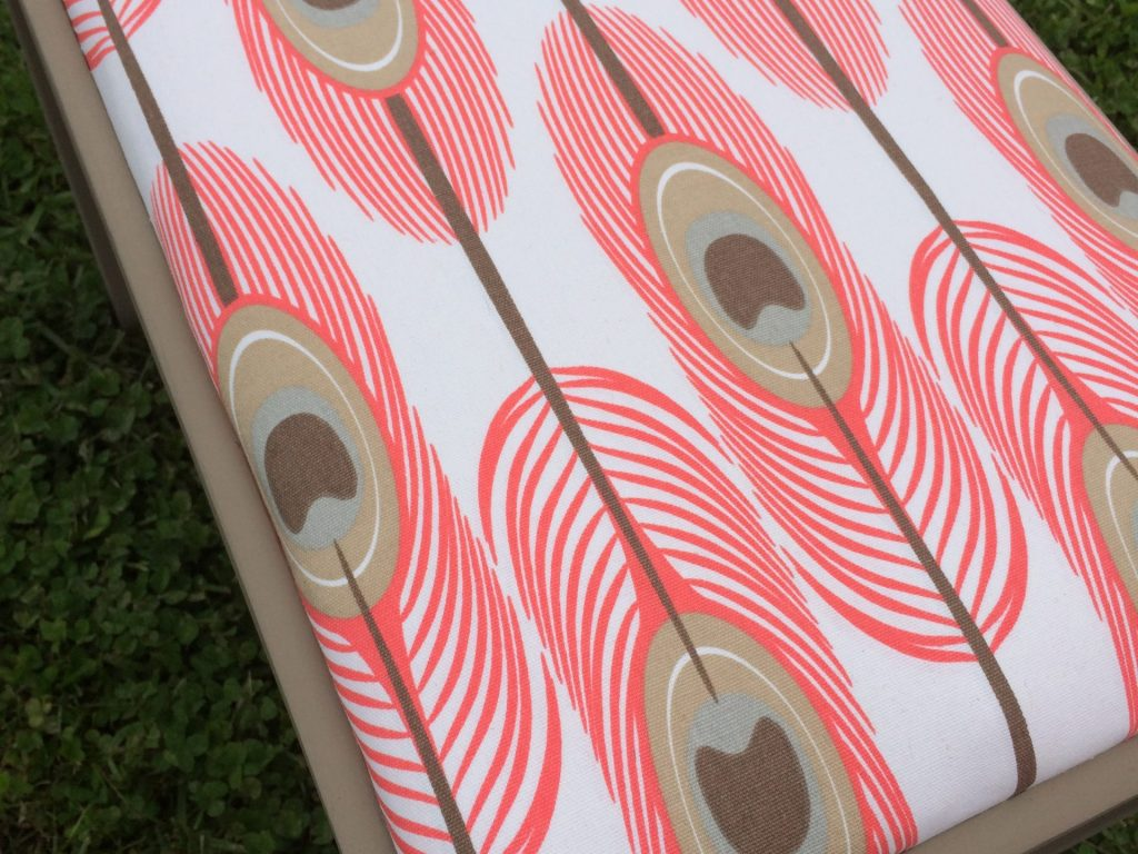 coral and tan cute and easy chalk painted upholstered bench
