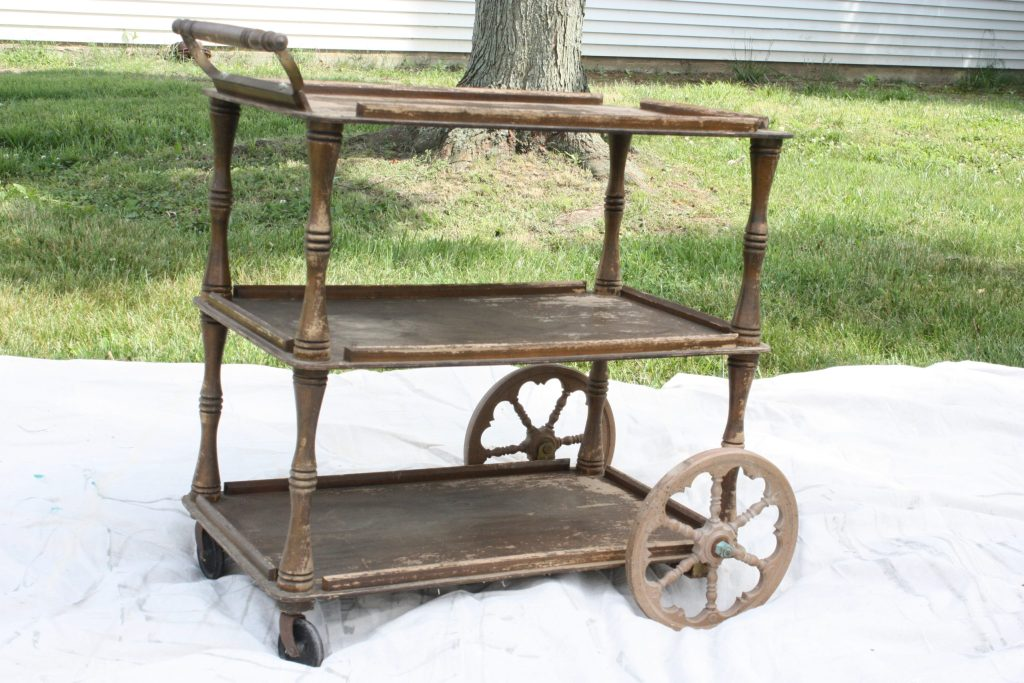 rough wooden vintage tea cart