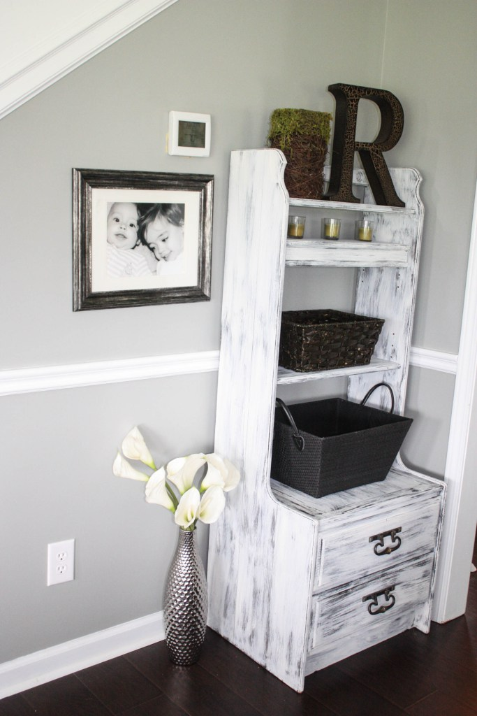 Shoe storage saga- furniture piece with shelving and drawers that are used for shoe storage