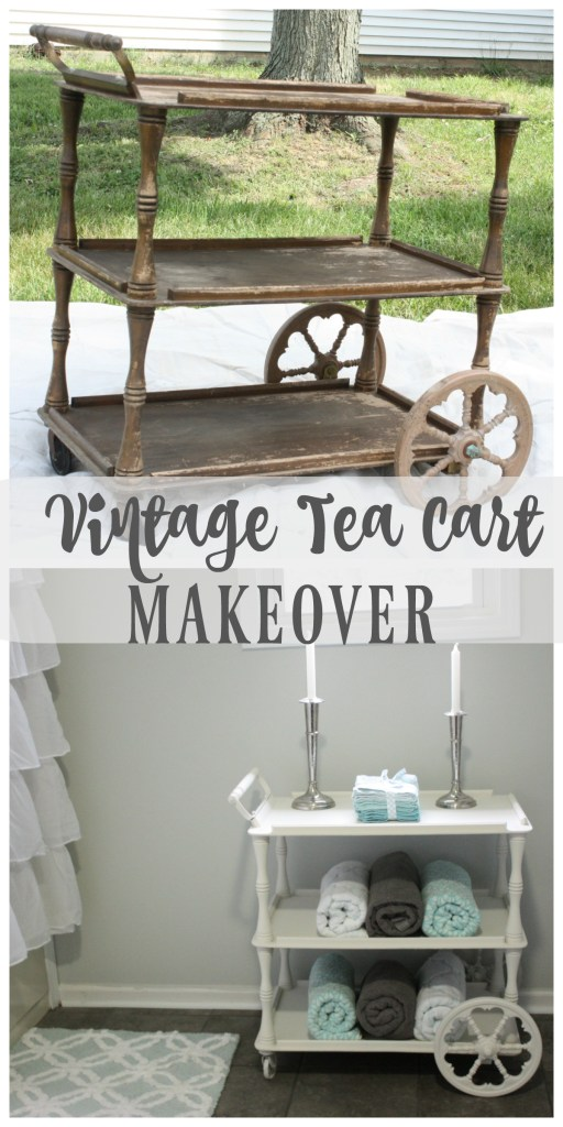 Old $10 run down tea cart got a big time makeover, and it looks AMAZING! I love how she used it in her bathroom! See the post for all of the details.