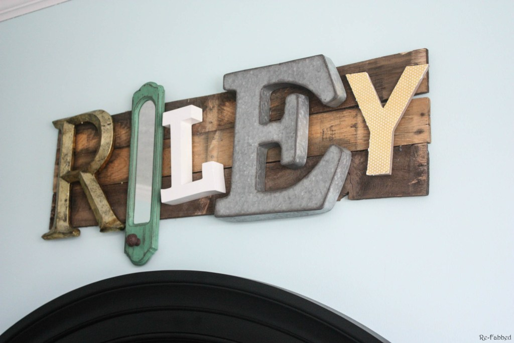 Pallet Name Sign made from random letters and pallet boards
