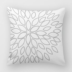 Gray and White Pillow Cover