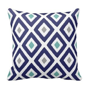 Aqua and Navy Diamond Pillow Cover