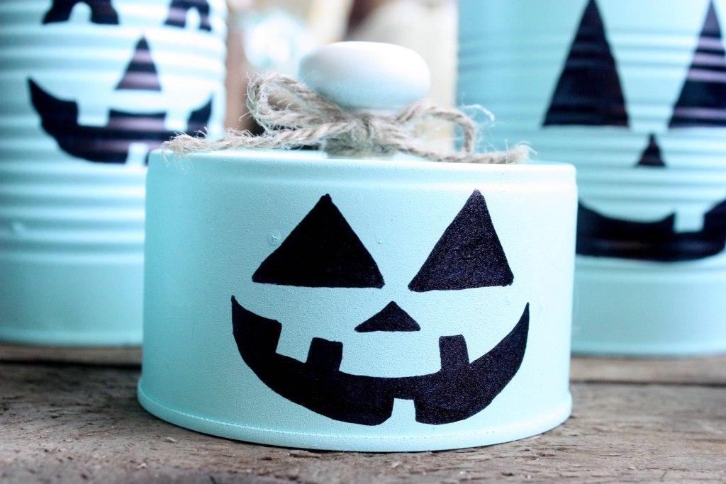 Tin Can Pumpkin Craft for Halloween