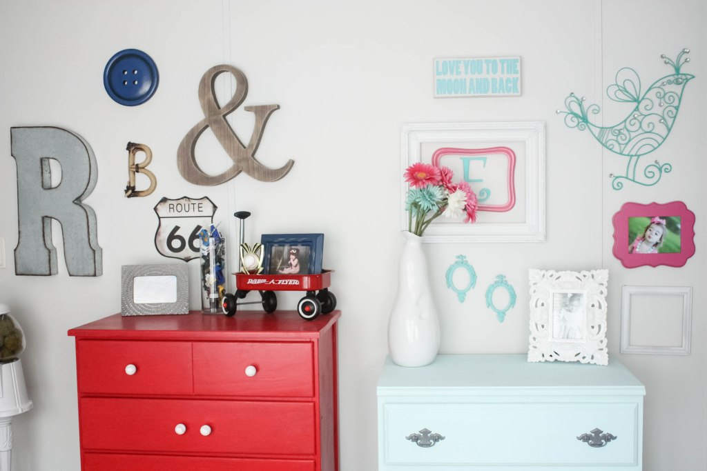 Little Girl's Small Chest Makeover with chalk paint and spray painted hardware, along with a peek into the shared boy and girl room gallery wall combination