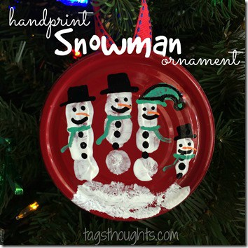 Canning Lid Snowman Handprint Ornament