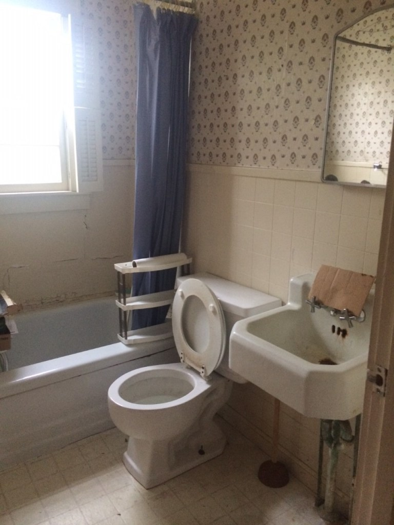 fixer upper house-bathroom before