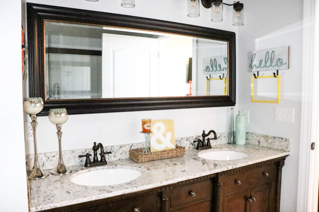 Beautifully colorful and budget friendly master bathroom makeover!