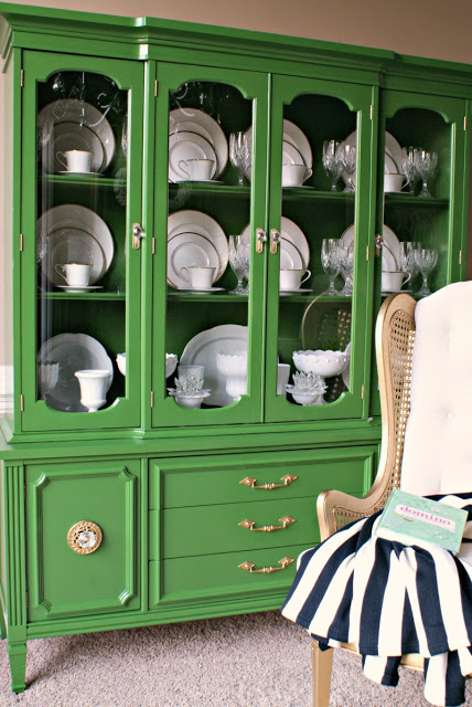 Green Painted China Cabinet Makeover
