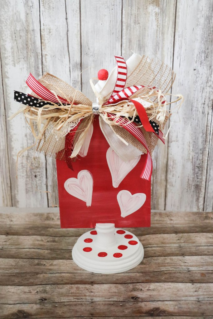 DIY Reversible Valentine's Day & Christmas Decor Stand