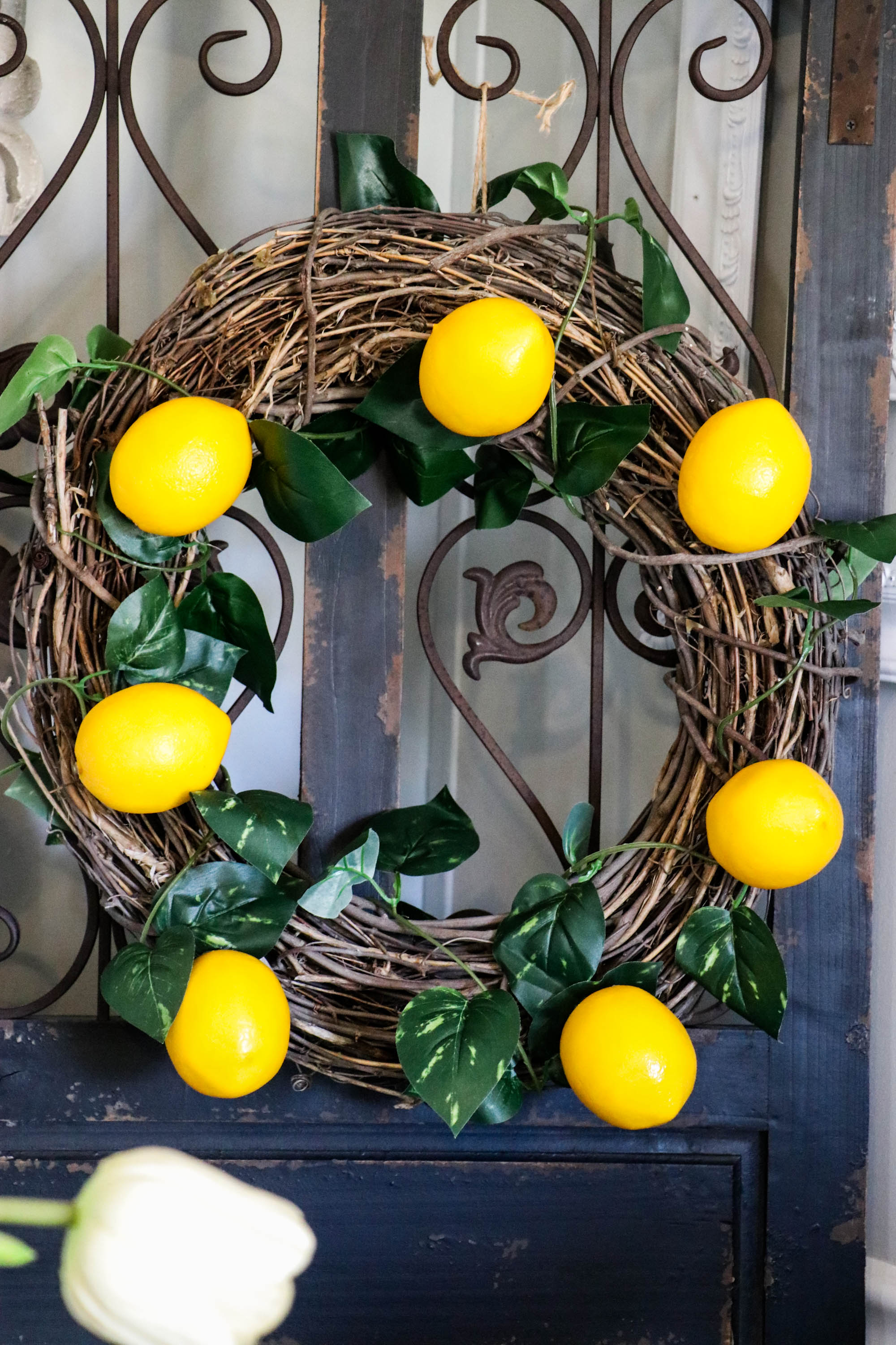 Diy Lemon Wreath With Dollar Store Materials Re Fabbed