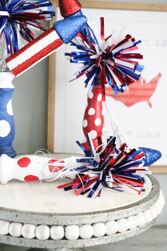 How to make super cute DIY Spindle fireworks using old wooden spindles!