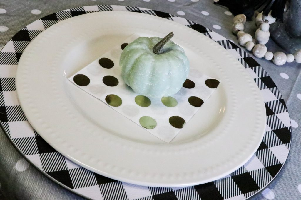 pumpkin on layered tablescape